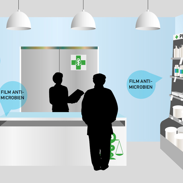 Dessin pharmacie film antimicrobien